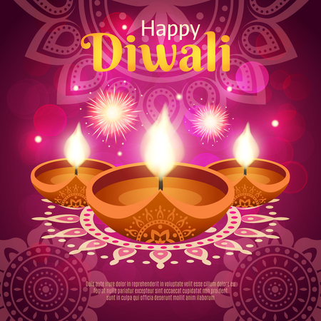 Happy diwali indian traditional festival of lights realistic vector illustration