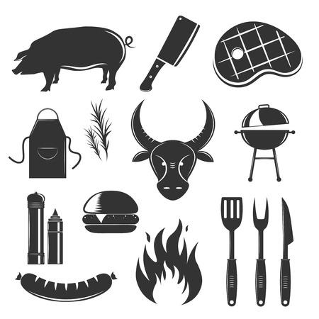 La raccolta d'annata degli elementi della bistecca con le immagini monocromatiche isolate della siluetta delle salse e dell'illustrazione delle coltelleria delle spezie dei prodotti a base di carne Archivio Fotografico - 84583997