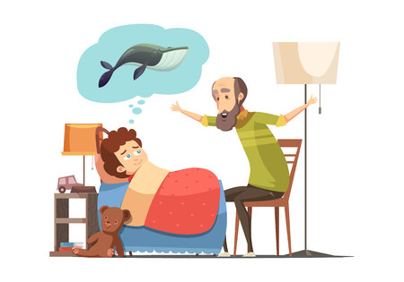 Old man senior character with beard tells his grandson bedtime fish story retro cartoon poster vector illustration Imagens - 84584003
