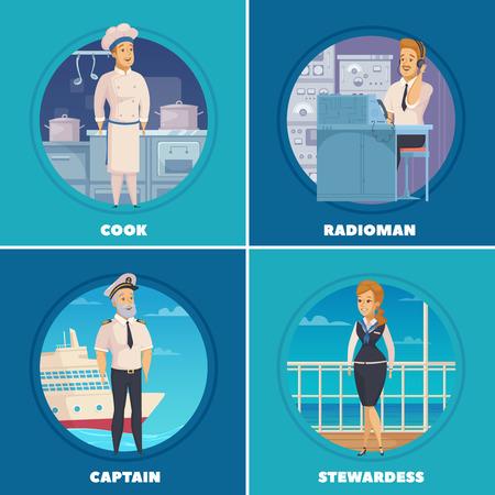 クルーズ ライナー ヨット船乗組員文字 4 漫画アイコン キャプテン クック無線技師分離ベクトル図と広場  イラスト・ベクター素材