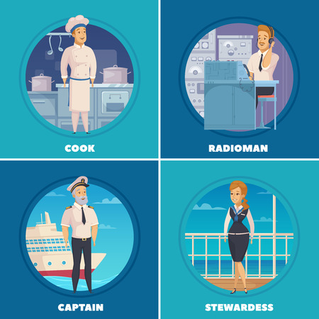 Cruise liner yacht ship crew characters 4 cartoon icons square with captain cook radioman isolated vector illustration Illustration