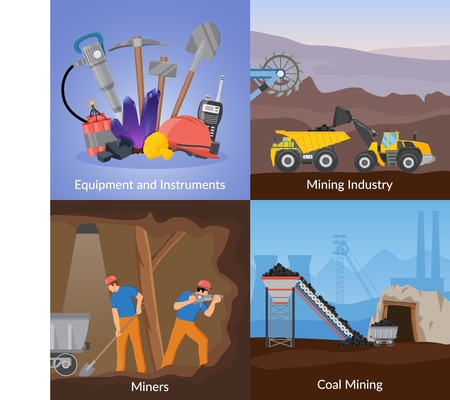 Mining industry flat design concept with equipment and instruments, manual labor, transportation, coal extraction, isolated vector illustration