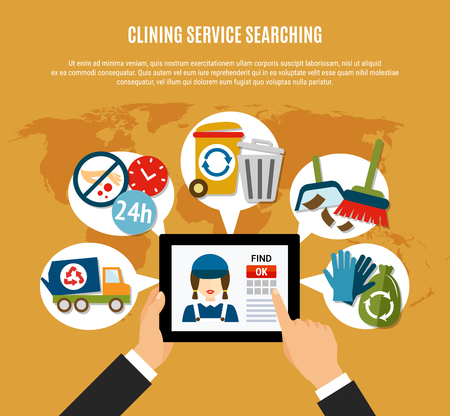 Garbage conceptual background with human hands and tablet with flat cleaning service icons inside thought bubbles vector illustration