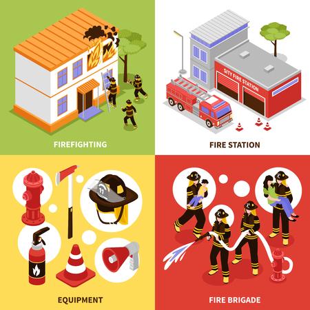 Isométrico bombero 2x2 concepto de diseño con el equipo de la brigada contra incendios y la estación aislados en fondos coloridos 3d ilustración vectorial