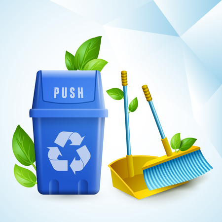 Ecology design concept in paper style with cleaning tools and garbage container with recycling symbol realistic vector illustration