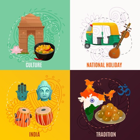 Indian culture and traditional symbols 2x2 design concept isolated on colorful backgrounds cartoon vector illustration Illustration