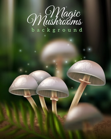 Shiny magic mushrooms growing in forest ground and green leaf on dark blurred background vector illustration