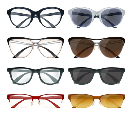 Realistic set of modern glasses and sunglasses with colorful frames isolated on white background vector illustration