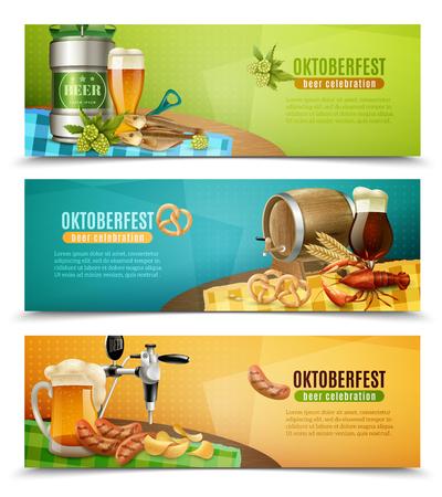 German oktoberfest 3 horizontal banners set with canned draft and oak barrel dark beer vector illustration Illustration