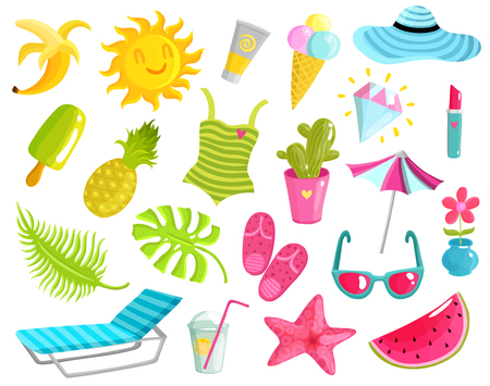 Collection of summer stuff including beach accessories, fruits, ice cream, starfish, diamond, sun, cactus isolated vector illustration Illustration
