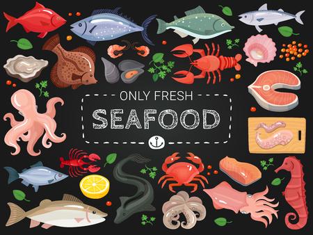 Van het menupunten van het zeevruchtenrestaurant de kleurrijke pictogrammen op zwart bord met de krab seahorse vissen van de octopuszalm vectorillustratie Stock Illustratie