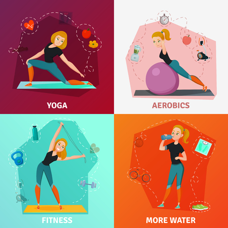 Healthy lifestyle 2x2 design concept with slim girl doing yoga fitness and aerobics isolated on colorful backgrounds cartoon vector illustration