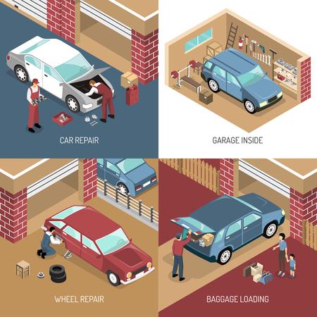 Il concetto di progetto isometrico con il garage dentro, la riparazione dell'automobile, la sostituzione della ruota, caricamento del bagaglio ha isolato l'illustrazione di vettore