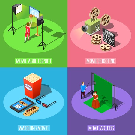 Isometric movie shooting design concept with square conceptual compositions of studio stage elements equipment and actors vector illustration