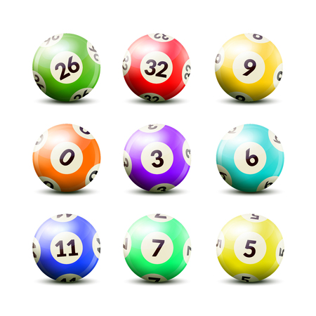 Lottery number balls set of nine isolated realistic images of balls for drawing machine with shadows vector illustration