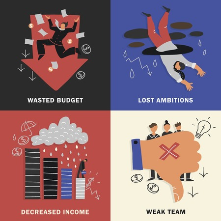 Four squares failure business design concept set with wasted budget lost ambitions decreased income weak team descriptions vector illustration Ilustrace