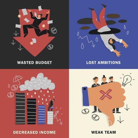 Four squares failure business design concept set with wasted budget lost ambitions decreased income weak team descriptions vector illustration Ilustração