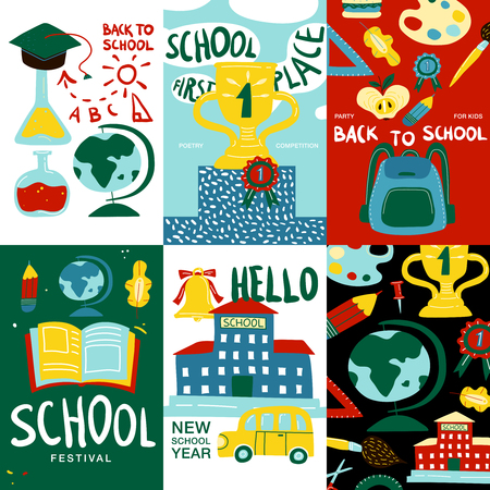 School posters banner set with hello new school year first place and school festival headlines vector illustration