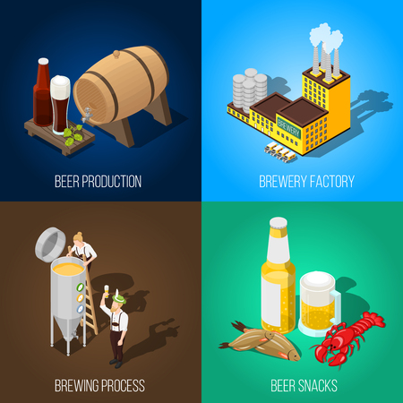 crawfish: Isometric beer production and salty snacks 2x2 concept isolated on colorful backgrounds 3d vector illustration