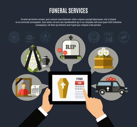 De samenstelling van de begrafenisdiensten met de mobiele vlakke vectorillustratie van toepassingssymbolen