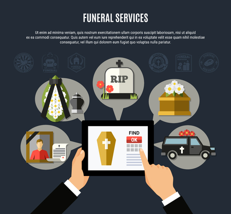 Funeral services composition with mobile application symbols flat vector illustration