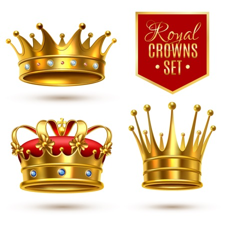 Colored realistic royal crown icon set with gold gems and red textile vector illustration