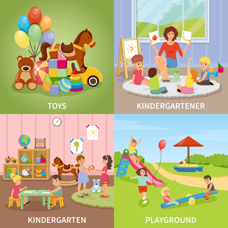 Kindergarten flat design concept including educator during gaming lesson, colorful toys, kids at playground isolated vector illustration