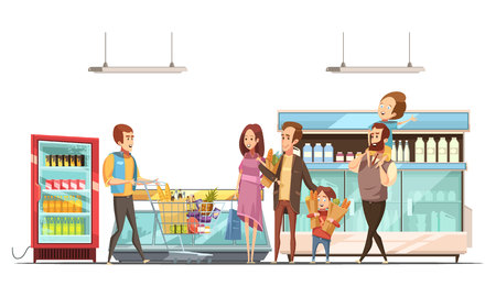 Fatherhood household work grocery shopping for family with kids in supermarket retro cartoon poster vector illustration Illustration