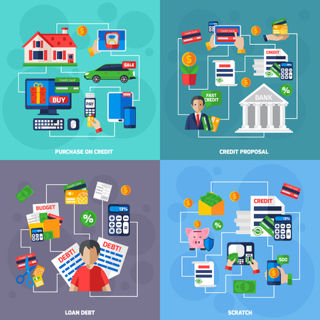 Loan and debt financial concept flat set isolated vector illustration