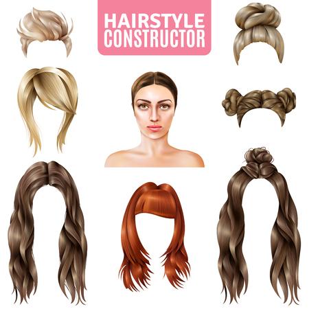 Frisuren für Frauen Konstruktor einschließlich Modell, lange und kurze Haare, in Brötchen, mit Franse isoliert Vektor-Illustration