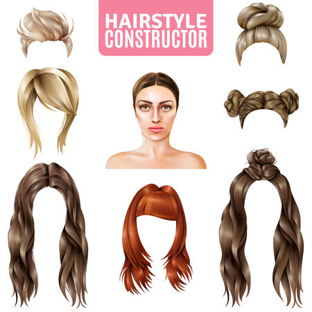 Hairstyles for women constructor including model, long and short hair, in bun, with fringe isolated vector illustration
