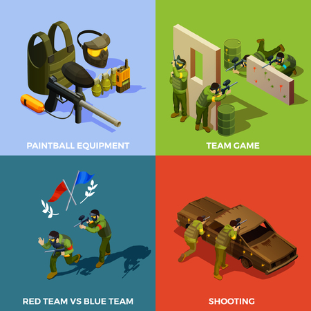 Paintball isometric design concept with pieces of protecting equipment artificial barriers and players during the game vector illustration Illustration