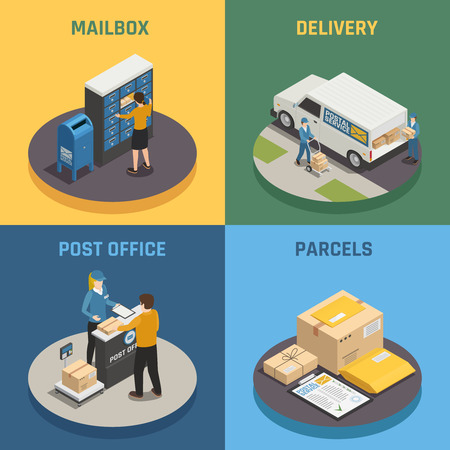 Post office mail delivery service 4 isometric icons square with mailbox parcels colorful background isolated vector illustration Иллюстрация