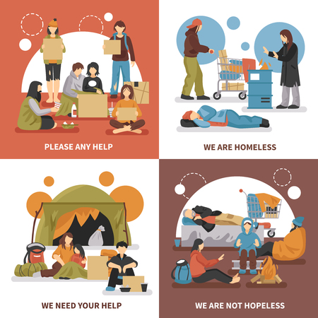 Four squares homeless people design concept set with please any help we are homeless we need your help descriptions vector illustration Ilustração
