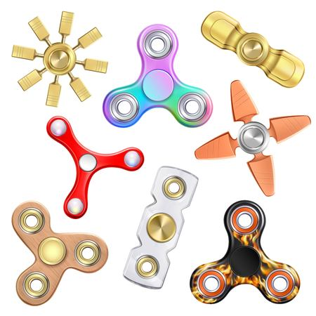Fidget finger spinner realistic set with stress-relieving toy images and various models with different shape vector illustration
