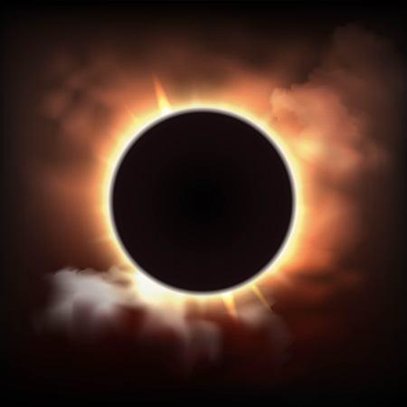 Abstracte achtergrond met totale zonsverduistering in donkere wolken in realistische stijl vectorillustratie