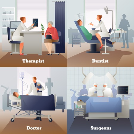 Doctor and patient, gradient compositions with physician near ill, surgeons, appointment at therapist, dentist isolated vector illustration