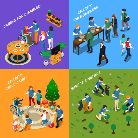 Colored and isometric volunteer charity people icon set with caring for disabled charity for homeless charity child care and save the nature descriptions vector illustration