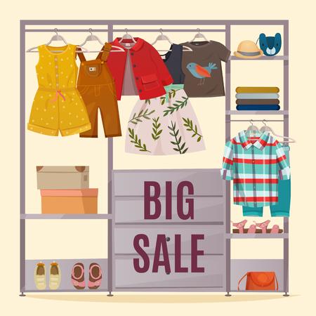 Gekleurde garderobeaffiche met kleren die in kast en de grote vectorillustratie van de verkoopkrantekop hangen