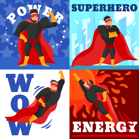 Superhero design concept about power and energy of man in red black clothing isolated vector illustration
