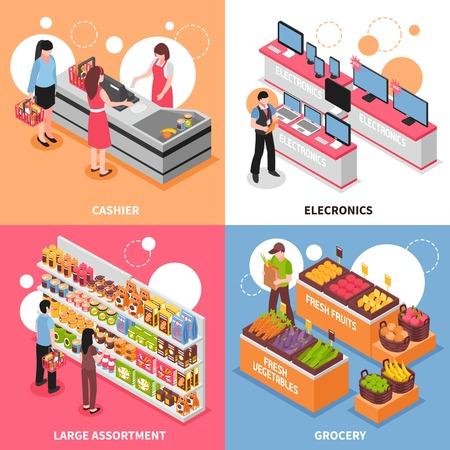 Supermarket isometric concept icons set with large assortment symbols isolated vector illustration Ilustracja
