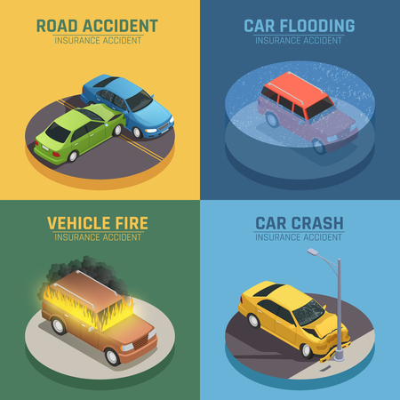 자동차 보험 개념도 사고 피해 및 자동차 화재 피해에 대 한 사각형 아이소 메트릭 아이콘 사각형 벡터 일러스트 격리