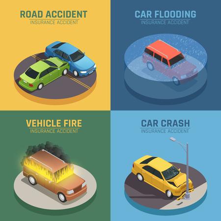 Autoverzekeringsconcept 4 isometrisch pictogrammenvierkant voor verkeersongevalsschade en de geïsoleerde vectorillustratie van de autobrandschade schade