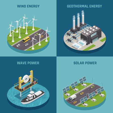 Kologische erneuerbare grüne Energiequellen 4 isometrische Ikonen quadratisches Plakat mit Wind Solar und Macht isoliert Vektor-Illustration Standard-Bild - 84584125
