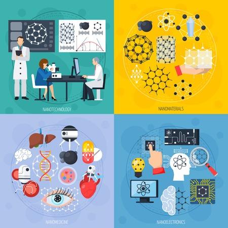 현대 재료, 센서 및 인공 지능을 포함하는 전자, 의학 절연 벡터 일러스트와 함께 나노 기술 디자인 개념