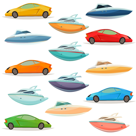 City resort area transportation retro cartoon icons collection with hatchback cars yachts and motorboats isolated vector illustration
