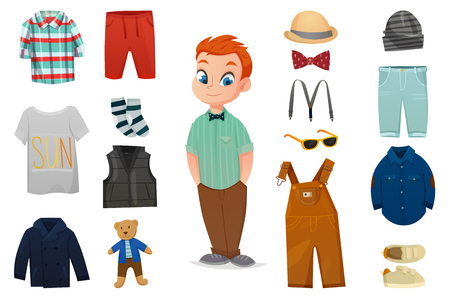 Flat colored baby boy fashion icon set with child figure and various clothes vector illustration