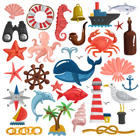 Set of nautical elements including ship, sailboat, anchor, knot, lighthouse, birds and sea life isolated vector illustration