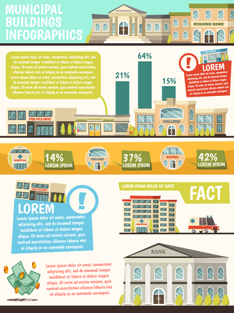 Orthogonal municipal buildings infographics with facts of buildings and their percentage rating vector illustration Ilustração