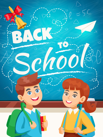 Back to school blue chalkboard background poster with smiling schoolgirl schoolboy with backpacks and schoolbel  vector illustration